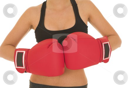 Boxer #07 stock photo, Brunette with red boxing gloves by Sean Nel
