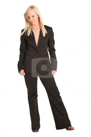 Business Woman #314 stock photo, Blond business woman dressed in black suit. by Sean Nel