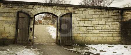Straubing #22 stock photo, Old Cirty gate leading to Danube River by Sean Nel