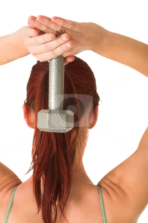 Gym #92 stock photo, Woman holding weight behind her head. by Sean Nel