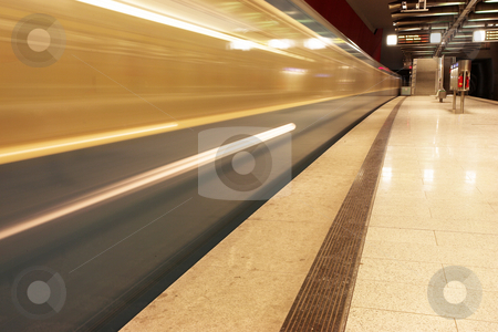 Munich #40 stock photo, Moving train in a underground train station by Sean Nel