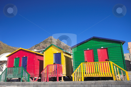 Muizenberg beach #4 stock photo, Multi-colored dressing rooms on the beach at Surfers Corner, Muizenberg, South Africa by Sean Nel