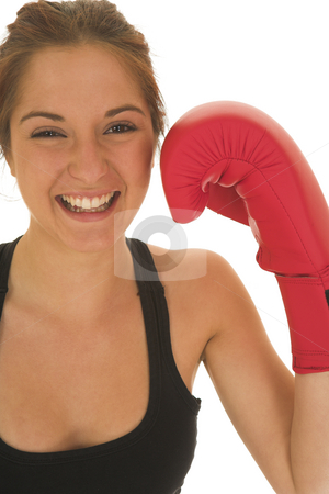 Boxer #01 stock photo, Brunette with red boxing gloves by Sean Nel