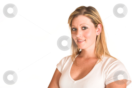 Laura Hopton 37 stock photo, Business woman standing with arms crossed - copy space by Sean Nel