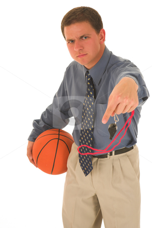 Business man #14 stock photo, Man upset with basketball and whistle. by Sean Nel