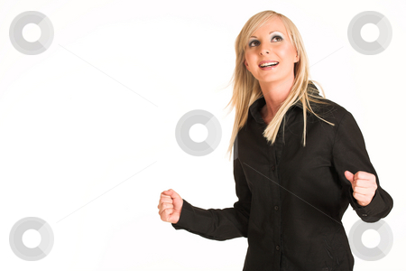 Business Woman #296 stock photo, Blond business woman dressed in black trousers and a black shirt. Making fists.  Copy space. by Sean Nel