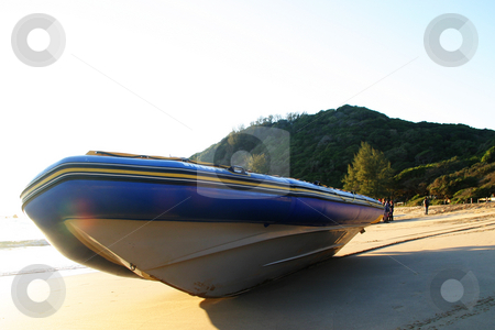 Diveboat on the beach - Diveduck#5 stock photo, Dive duck lying in the early morning sun by Sean Nel