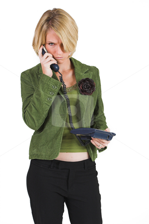 Business Lady #5 stock photo, Blonde Business woman on the phone by Sean Nel
