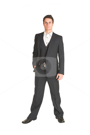 Businessman #117 stock photo, Businessman standing in formal pinstripe suit.  One hand in pocket. by Sean Nel