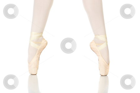 Ballet Feet Positions stock photo, Young female ballet dancer showing various classic ballet feet positions on Pointe against a white background - 2nd position en pointe. NOT ISOLATED by Sean Nel