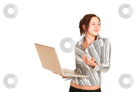 Business Woman #358 stock photo, Business woman with brown hair, dressed in a white shirt with black stripes. Holding a computer.  Copy space by Sean Nel