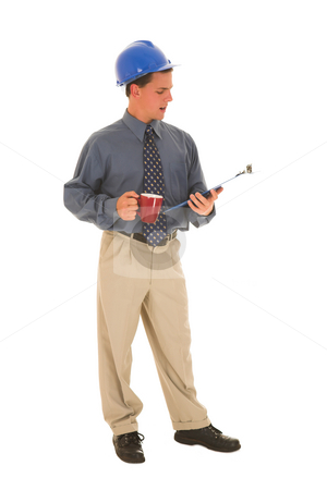 Businessman #99 stock photo, Man looking at clipboard. by Sean Nel