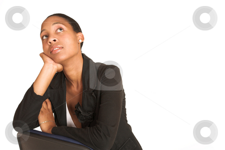 Mida Matsimela #25 stock photo, African business woman dressed in black jacket. Sitting on office chair, thinking. Copy space by Sean Nel