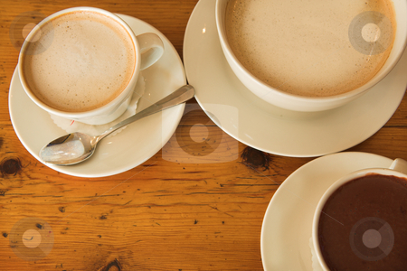Lunch #36 stock photo, Hot chocolate and coffee on a wooden table by Sean Nel