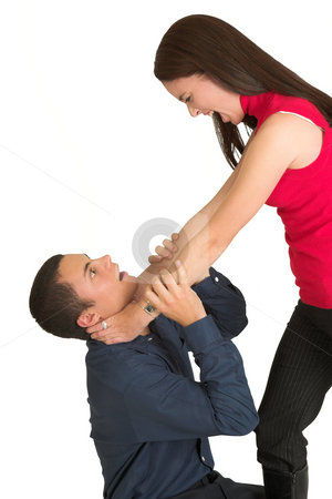 Business People #43 stock photo, A brunette woman  strangling her male business partner. by Sean Nel
