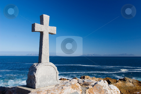 Graves #12 stock photo, Old stone Grave in the shape of a cross at Gordons Bay,  South Africa by Sean Nel