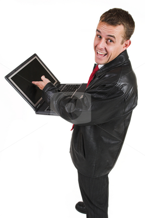 Business man #18 stock photo, Business man in a suit with a notebook computer by Sean Nel