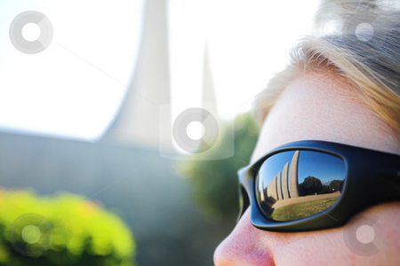 Reflection of Afrikaans Language Monument in South Africa stock photo, Famous landmark of the Afrikaans Language Monument in Paarl, Western Cape, South Africa reflected in a womans sunglasses. (Very shallow Depth of Field) by Sean Nel