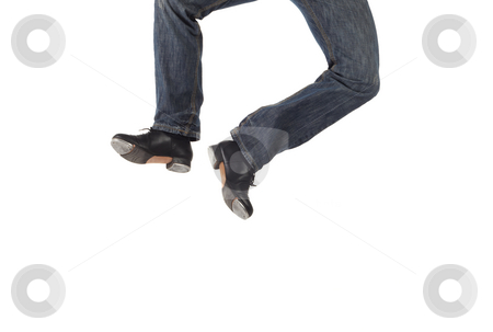 Single tap dancer stock photo, Single male tap dancer wearing jeans showing various steps in studio with white background. Not isolated by Sean Nel