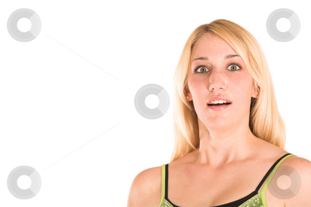 Businesswoman #469 stock photo, Blonde business lady in an informal green top. Looking surprised.  Copy space by Sean Nel
