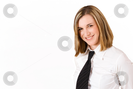 Felicity Calitz #17 stock photo, Business woman with white shirt and black tie - copy space by Sean Nel