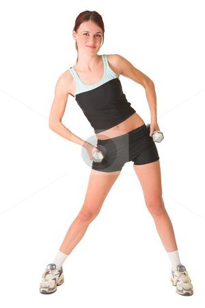 Gym #151 stock photo, Woman in gym wear standing with her hands on her hips with weights. by Sean Nel