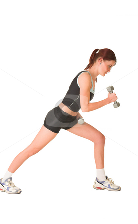 Gym #146 stock photo, Woman leaning forward, looking down, working out with weights. by Sean Nel