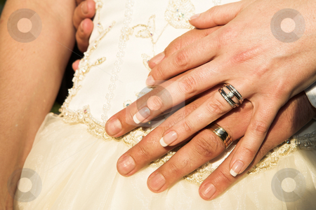 Romantic hands with wedding rings stock photo, Romantic image of the wedding rings of a new young adult couple on their wedding day. by Sean Nel