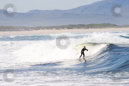 Surfer #5 stock photo, Unknown Surfer on Kleinmond beach - South Africa by Sean Nel