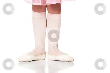 Ballet Feet Positions stock photo, Young female ballet dancer showing various classic ballet feet positions on a white background - Beginner 1st position. NOT ISOLATED by Sean Nel