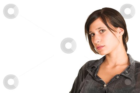 People #27 stock photo, Woman dressed in a smart shirt.    Copy space by Sean Nel
