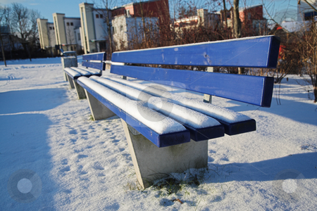 Munich #12 stock photo, Bench covered in snow in a park in Munch.  Shallow DOF by Sean Nel