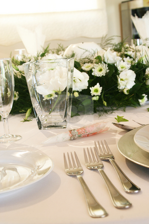 Forks stock photo, Formal three course meal silverware by Sean Nel