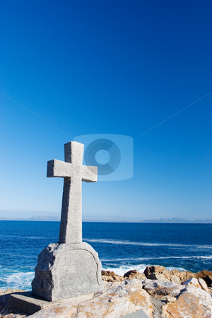 Graves #13 stock photo, Old stone Grave in the shape of a cross at Gordons Bay,  South Africa by Sean Nel