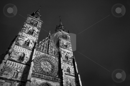 Neurenburg #75 stock photo, Church in Neurenburg at nighttime. Black and white. copy space. by Sean Nel
