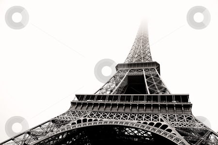 Paris #15 stock photo, The Eiffel Tower in Paris, France.  Black and white.  Copy space. by Sean Nel
