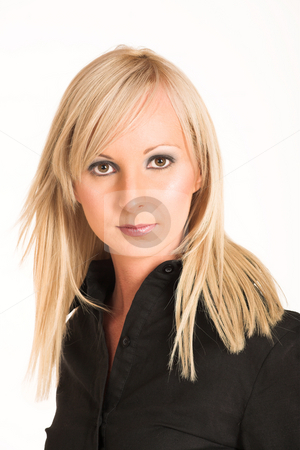 Business Woman #290 stock photo, Blond business woman dressed in black trousers and a black shirt. by Sean Nel