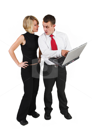 Heidi & Tollie Booysen #1 stock photo, Two business partners talking, man holding laptop by Sean Nel