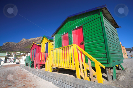 Muizenberg beach #1 stock photo, Multi-colored dressing rooms on the beach at Surfers Corner, Muizenberg, South Africa by Sean Nel