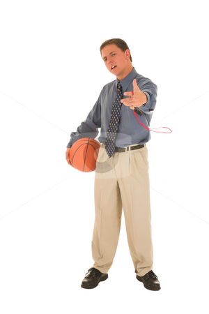 Business man #15 stock photo, Man in holding basket ball and whistle. by Sean Nel