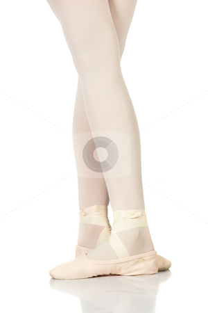 Ballet Feet Positions stock photo, Young female ballet dancer showing various classic ballet feet positions on a white background - Fifth position. NOT ISOLATED by Sean Nel