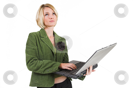 Business Lady #7 stock photo, Blond Business woman with notebook computer by Sean Nel