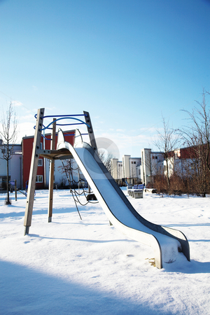 Munich #01 stock photo, Playpark in munich - covered in snow. by Sean Nel