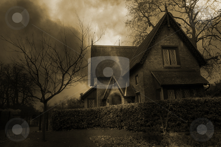 Haunted House #2 stock photo, Haunted house in London, Sepia Tone - Brown by Sean Nel