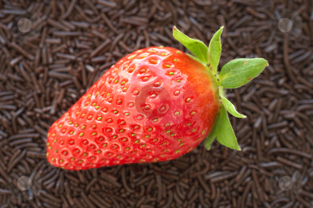 Strawberries and chocolate stock photo, Fresh ripe strawberry on a bed of small chocolate sprinkles served as a dessert - Shallow Depth of Field by Sean Nel