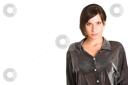 People #29 stock photo, Woman dressed in a smart shirt. Copy space. by Sean Nel