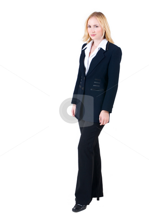 Lena Talberg #6 stock photo, Business woman in formal black suit, standing - full length, copy space by Sean Nel