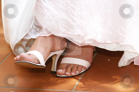White Sandals stock photo, Brides feet with white sandals by Sean Nel