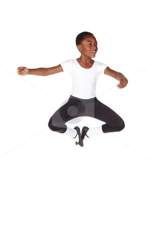 Young African ballet boy stock photo, Young African ballet boy on white background and floor showing various ballet steps and positions. Not Isolated by Sean Nel
