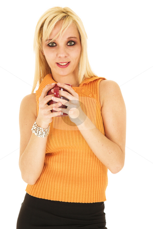 Blonde businesswoman in short skirt  stock photo, Blond businesswoman in small black dress and orange top isolated on white with a red coffee cup in her hands by Sean Nel